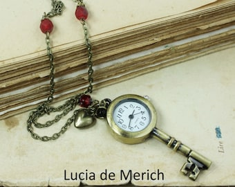 Key to my Heart - Pocket watch necklace - Vintage style - gift uder 25 USD - coupon code-Valentines gift -Black friday - Cyber monday