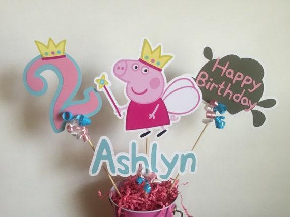 Artículos similares a Peppa Pig hadas princesa centro de mesa - nuevo en  Etsy