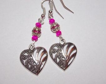 Hot Pink Crystal Encrusted SilverPlated Bead Tibetan Silver Heart Earrings