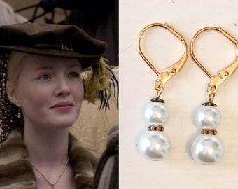Lucrezia Borgia White Pearl Antique Gold Brass Renaissance Tudors Earrings