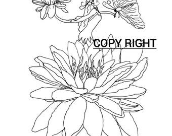 Dessin original à colorier et à télécharger 'Femme-Fleur'