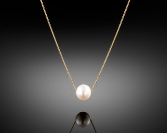 Pearl Necklace, Floating Pearl Necklace, Wedding Pearl gift, Solitaire Necklaces, floating necklace, bridesmaid necklace, Wedding Jewelry