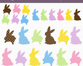 Easter Bunny Clipart - Polka Dot Easter Bunnies - Digital Art Set INSTANT DOWNLOAD