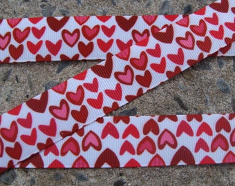 "3 yards Happy Valentine's Day ribbon Pink, Red Hearts Printed Ribbon Valentine grosgrain ribbon 7/8"" Valentine Ribbon Hair Bow Ribbon"