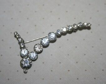 Vintage Silver Tone Clear Rhinestone Check Mark Shaped Pin Brooch
