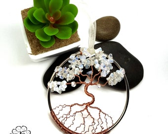3 Inch Moonstone Tree of Life Window or Wall Ornament/  Housewarming Gift/ June Birthstone/ June Birthday Gift/ Summer Baby/ Gemstone Tree
