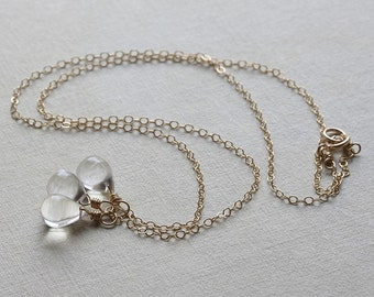 Crystal quartz necklace - dainty triple briolette charm necklace in 14k gold-fill