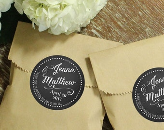 24 Wedding Favor Bags with Personalized Labels | Jenna Label Design | Wedding Favors | Bridal Shower Favors | Kraft Favor Bags