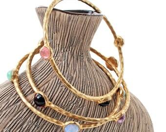 Vintage Hammered Brass Bangle, Stacking Bracelets, Antique Glass Cabochons, Set of 3