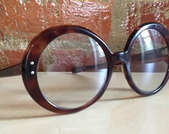 Vintage 60's Jackie O Round Glasses Frames, Tortoise Shell Brown