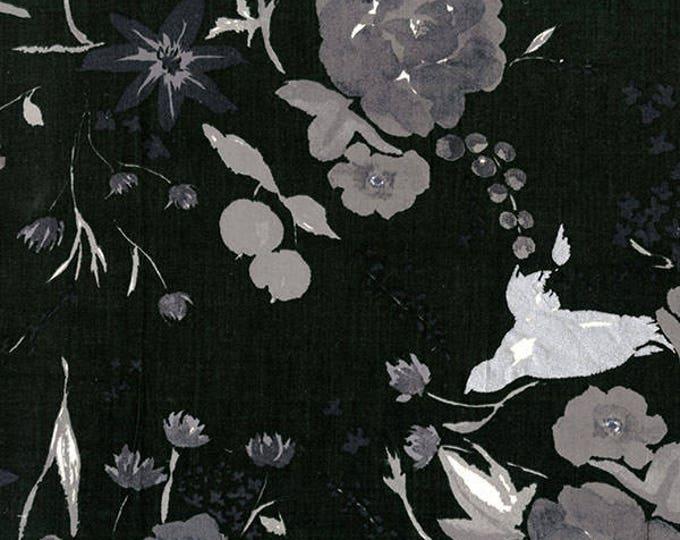 Nani Iro - Beau Yin Yang Collection - Cadeau in Black Lightweight Cotton Sateen