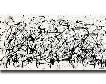 """Large contemporary black white Abstract painting 24""""x48"""" acrylic on Gallery canvas """"3016BW"""" by K. Davies"""
