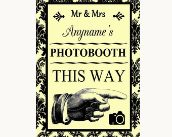 Yellow Damask Photobooth This Way Right Personalised Wedding Sign