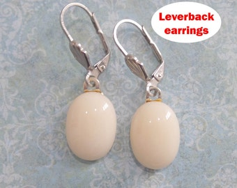 Leverback Earrings, Dangle Earrings, French Vanilla, Cream, Silver Plated Leverback, Fused Glass Jewelry - Sandy - -5