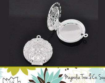 ROUND Locket, Silver Plated Locket, Filigree, Hollow Silver Round Lockets, Photo Locket, Wedding, Diffuser, Shiny Silver, 5 pcs (WS138)