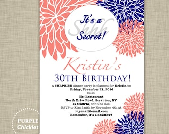 Surprise Party Invitation 30th Birthday Invitation Navy Blue Coral White Dinner Party Elegant Adult Party Invite Printable File Invite 140a