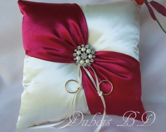 Wedding ring bearer pillow, Ivory with a red sash ring pillow, Red ring bearer pillow, Ivory ring pillow, Wedding ring pillow