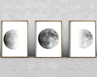 Moon Phase Prints Set of 3 Lunar Phases Black and White Wall art Minimalist Posters Night Sky Constellations Gray Wall art Moon Prints