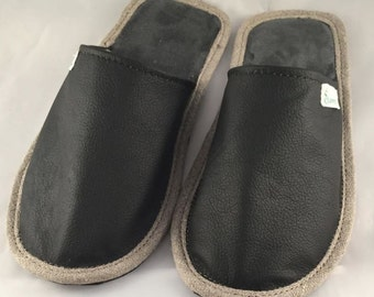 Black slippers, men slippers, leather slippers, cozy slippers, slippers for men, closed toe slippers, home slippers, men's house shoes
