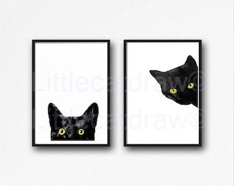 Black Cat Print Set Of 2 With Golden Yellow Eyes Watercolor Prints Cat Art Illustration Black and White Minimalist Prints Unframed