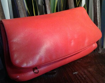 70s CORAL LEATHER CLUTCH—Folds in Half—Brass Zipper Pockets—Bright Color