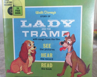 Vintage 1960's Walt Disney's Lady and the Tramp Book w/o Record