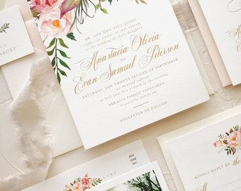 Blush Gold Wedding Invitation, Floral Wedding Invitation Suite SAMPLE
