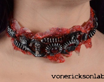 Steampunk Jewelry Post Apocalyptic Zombie Gear Choker - Antiqued Steel Tone - Slit throat Cyberpunk Jewelry slashed throat
