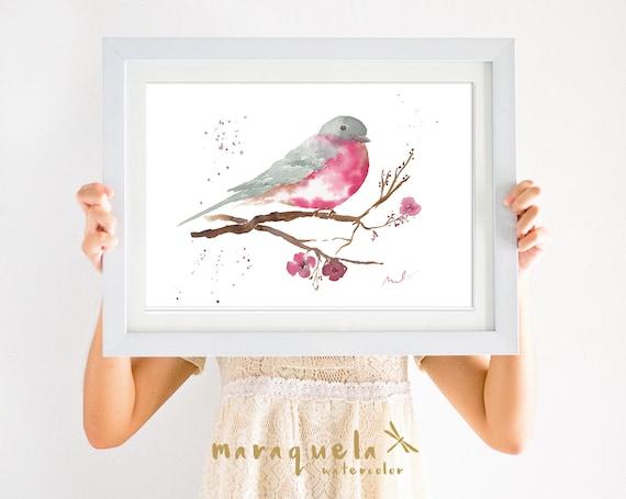 BIRD IV illustration Watercolor Collection,art print birds, animals, nature, elegant birds,gray and dark pink hues,home decor,birds painting