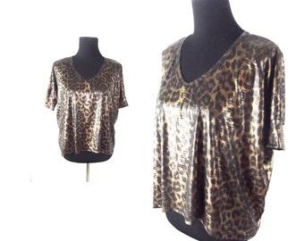 90s Club Shirt Euro Trash Metallic Animal Print Blouse Size S