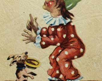 Vintage German postcard - Circus clown and dog - Wivo 1883 Publ. - 1960s