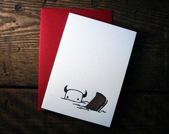 Letterpress Winter Sledding Monster Card - single