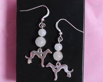 Greyhound Whippet Sterling Silver Wire Earrings with Moonstones