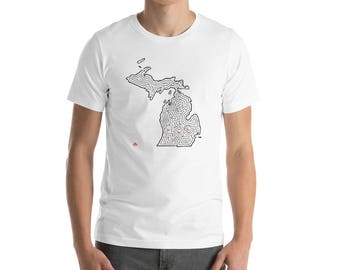 Adult Michigan Map Maze Short-Sleeve T-Shirt | Grand Rapids/Lansing/Detroit | Upper and Lower Peninsulas (Various Color Choices)
