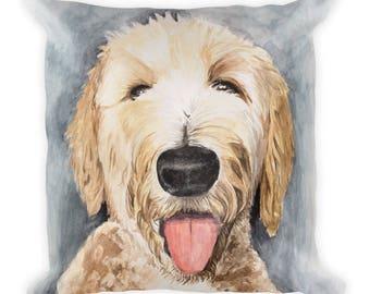 Goldendoodle Pillow Art Watercolor - Square Pillow
