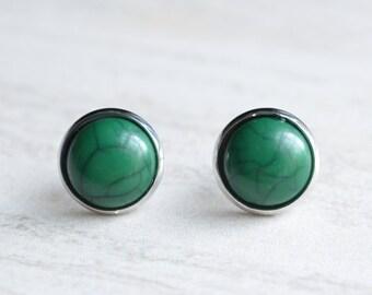 Belle - Dark Green Faux Turquoise Stud Earrings