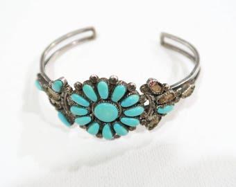 Zuni native american cluster petit point turquoise cuff