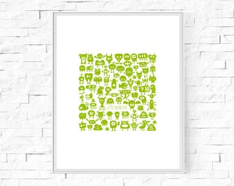 "Printable Little Monster Kids Print - Instant Download - Boy's Bedroom - Green Monster - Boy's Wall Art - Poster - 8""x10"" & A4."
