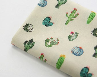 Cactus Pattern Digital Printing Cotton Fabric by Yard - Beige Color