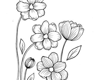 Wild flowers - PDF Coloring Page