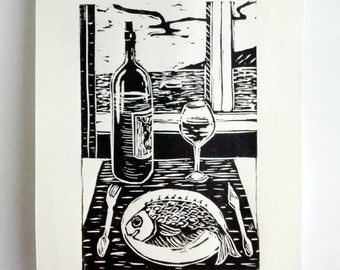 "Original Linocut Handmade Print, 6.5"" x 9"", Limited edition, small size art, black ink, wine, fish, block print, gift idea, kitchen art"