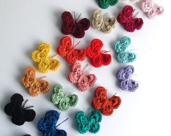 6 CROCHETED BUTTERFLY APPLIQUE  free choice of colour