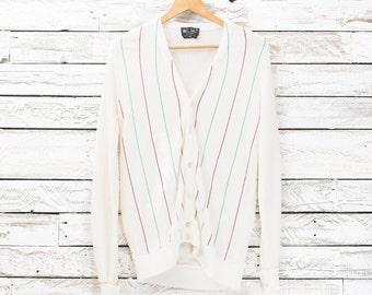 Vintage cardigan / Vintage striped vest / Prince Bellini