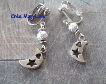 Clip earrings for non pierced silver Moon