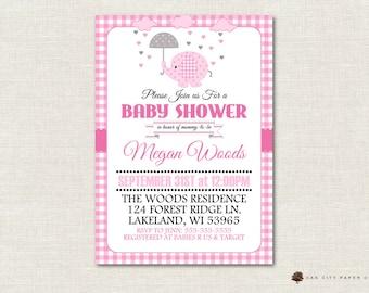 Pink Baby Shower Invitation, Elephant Baby Shower Invitation, Pink Elephant Baby Shower Invitation, Umbrella, Rain, Baby Girl, DIY, Editable