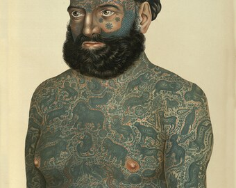 Tattooed Man ~ Vintage Tattoo Art ~ Goerg Constantin ~  Circus tattoo man ~ - tattoo's as art ~ Body tattoo ~ Giclee Fine Art Print