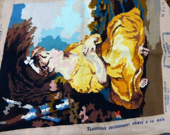 CANEVAS the age of innocence after a painting by J. REYNOLDS, tapestry finished embroidered, vintage 1970, handmade