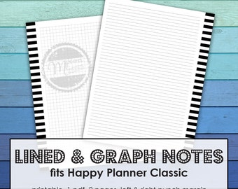 On sale today. MAMBI Happy Planner Printable & Flipable Lined and Graph Paper Inserts for the Classic Happy Planner, Special Offer