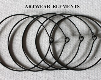 Blank Hoop Wire Forms, Bangle Sets, Wire Forms, Black Or Plain Silver Steel Wire, Hoop Blanks, Wire Supplies, Wire, Hoops, ArtWear Elements