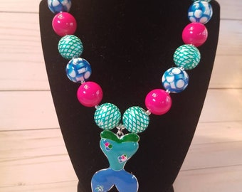 Mermaid chunky bubble gum necklace